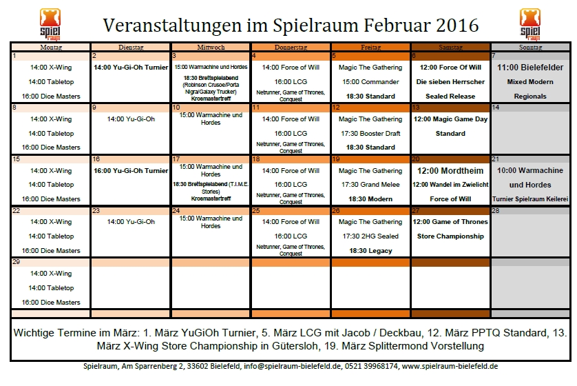 Monatsplan Februar 2016