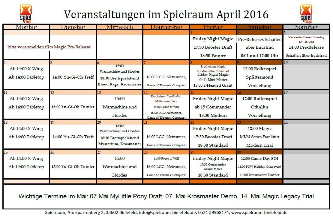Monatsplan April 2016