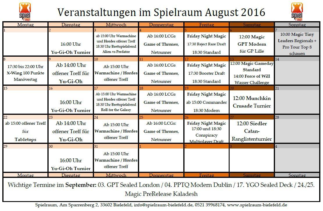 Monatsplan August 2016