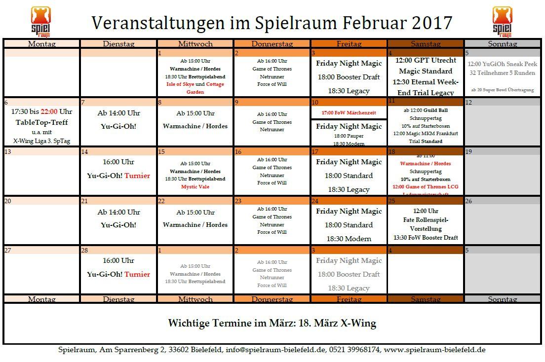 Monatsplan Februar 2017