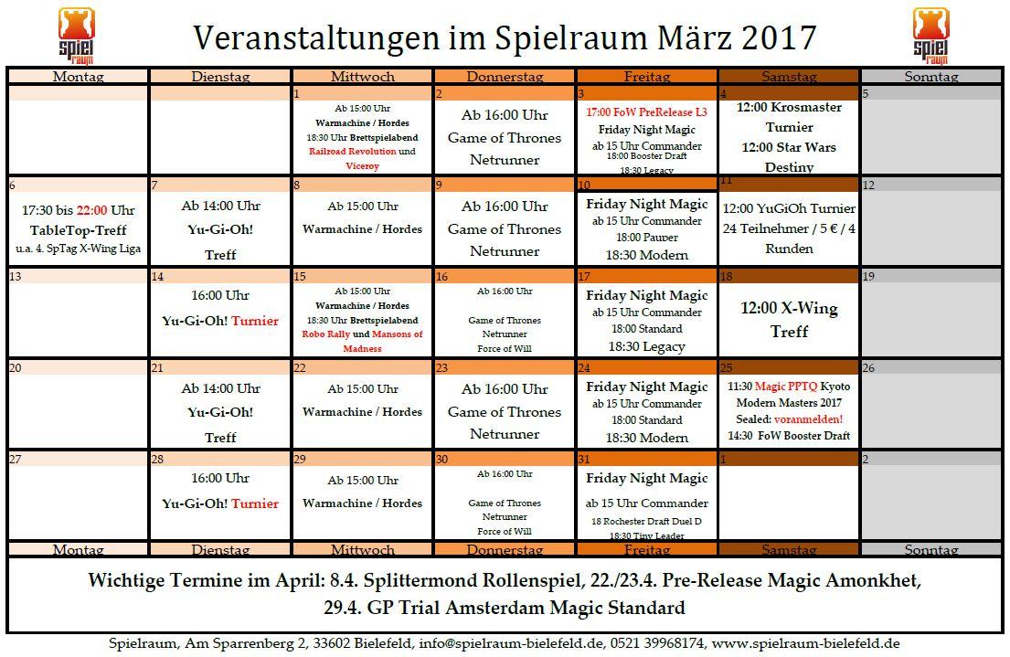 Monatsplan märz 2017