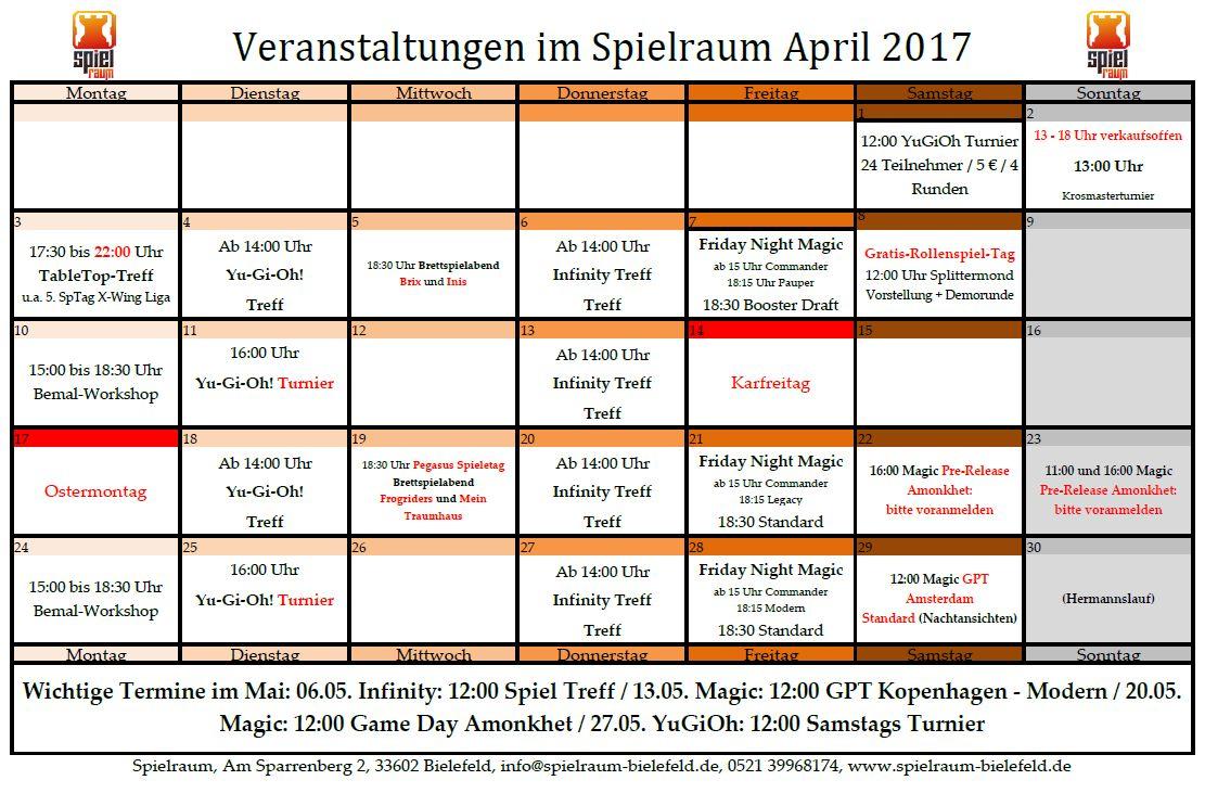 Monatsplan april 2017