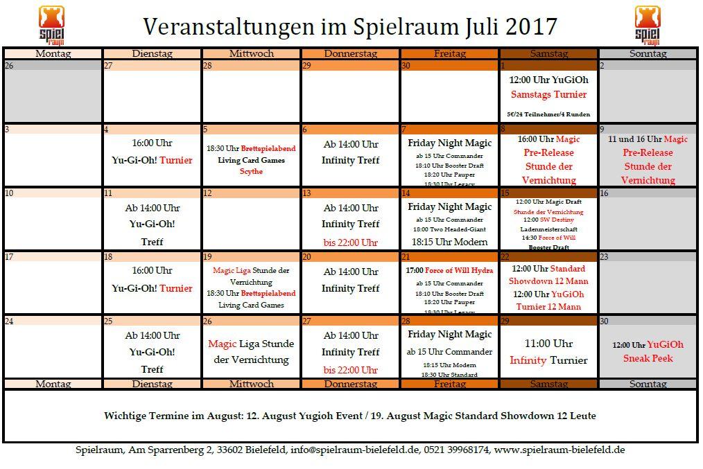Monatsplan Juli 2017