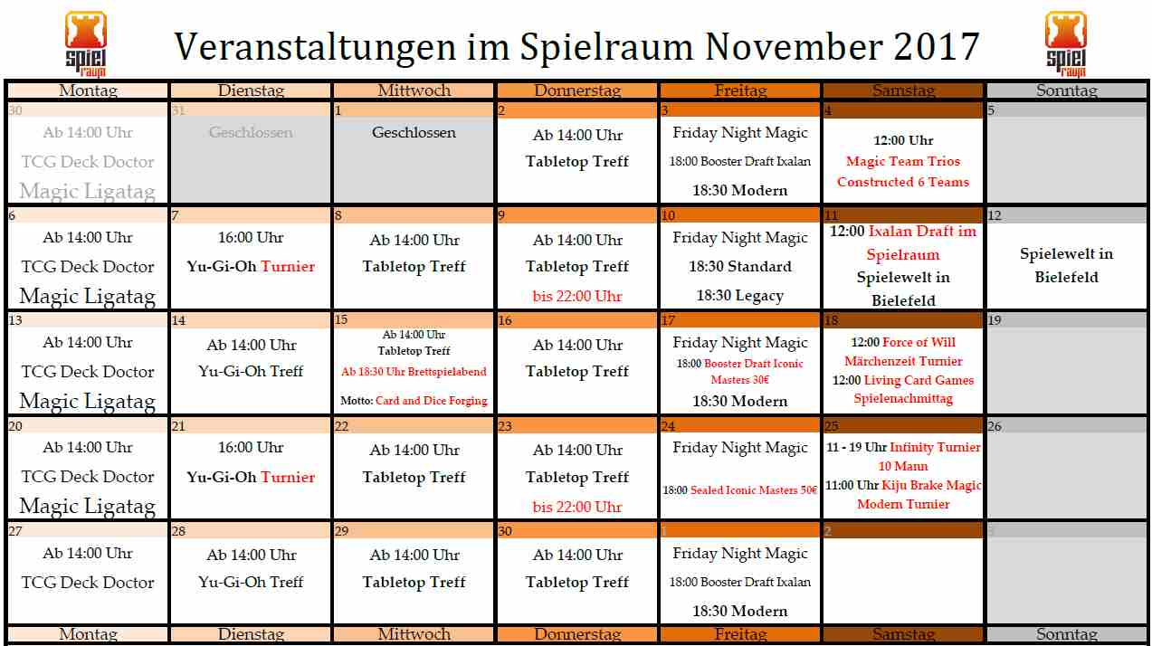 Monatsplan November 2017