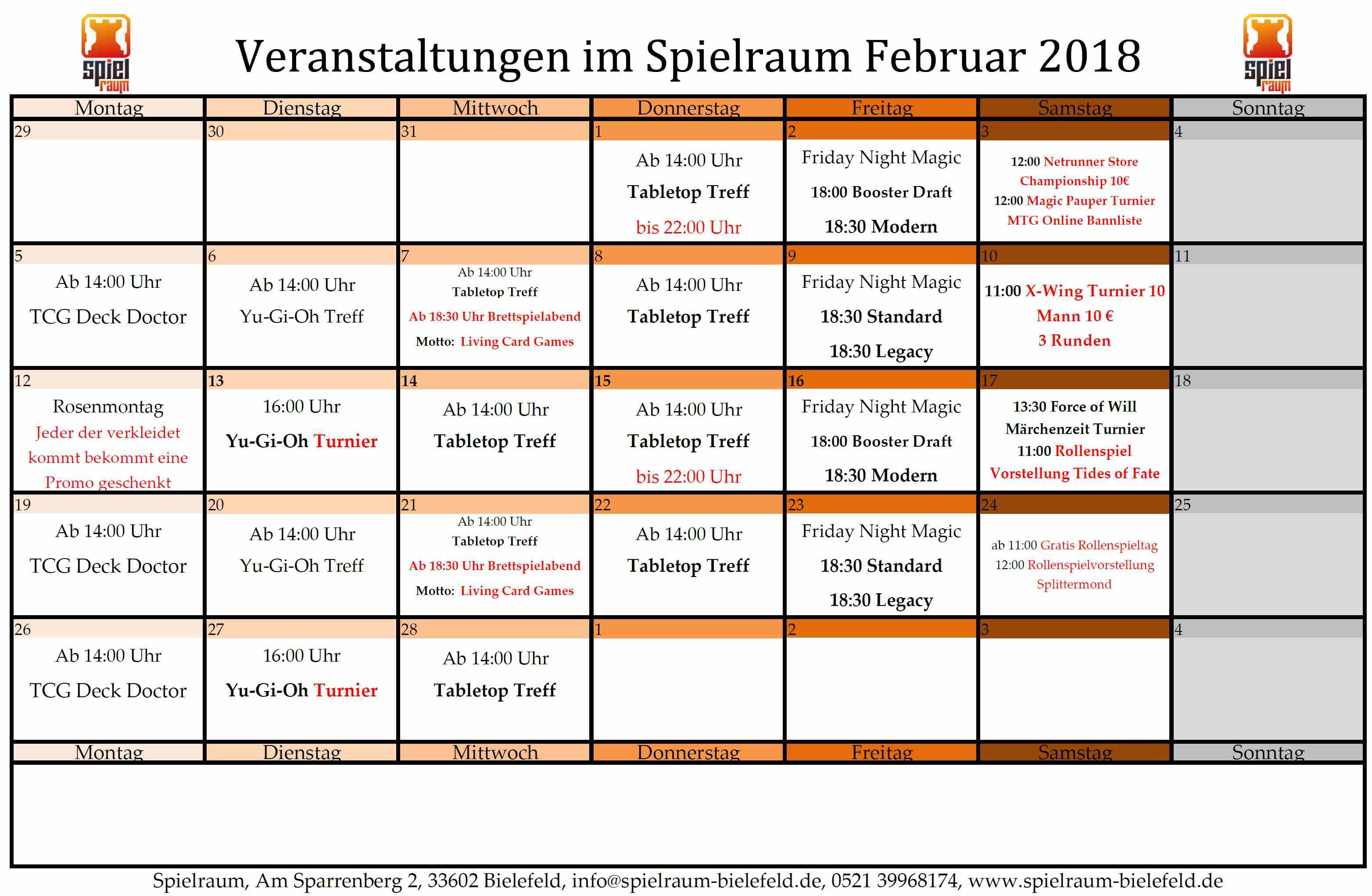 Monatsplan Februar 2018