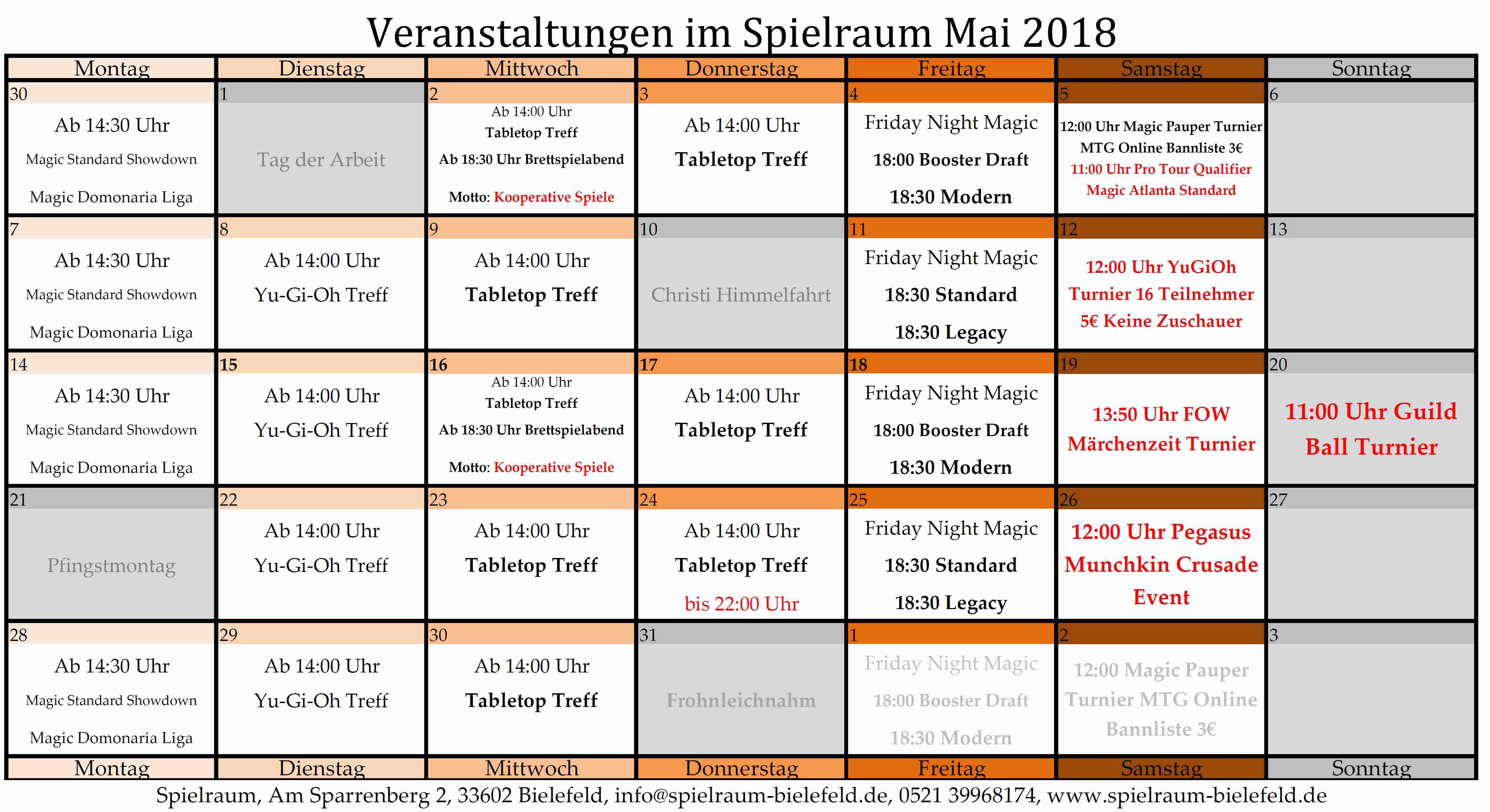 Monatsplan Mai 2018