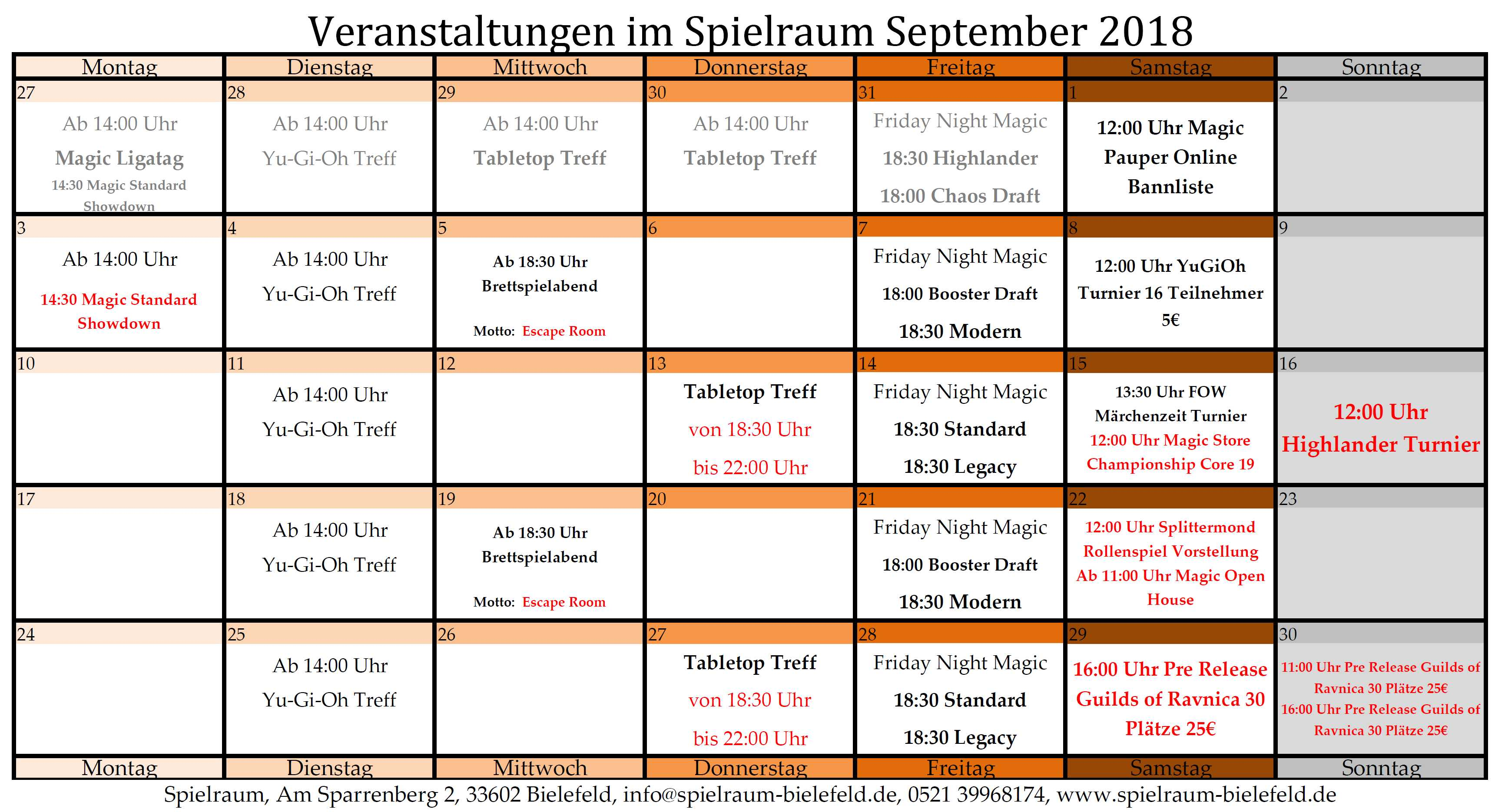 Monatsplan September 2018