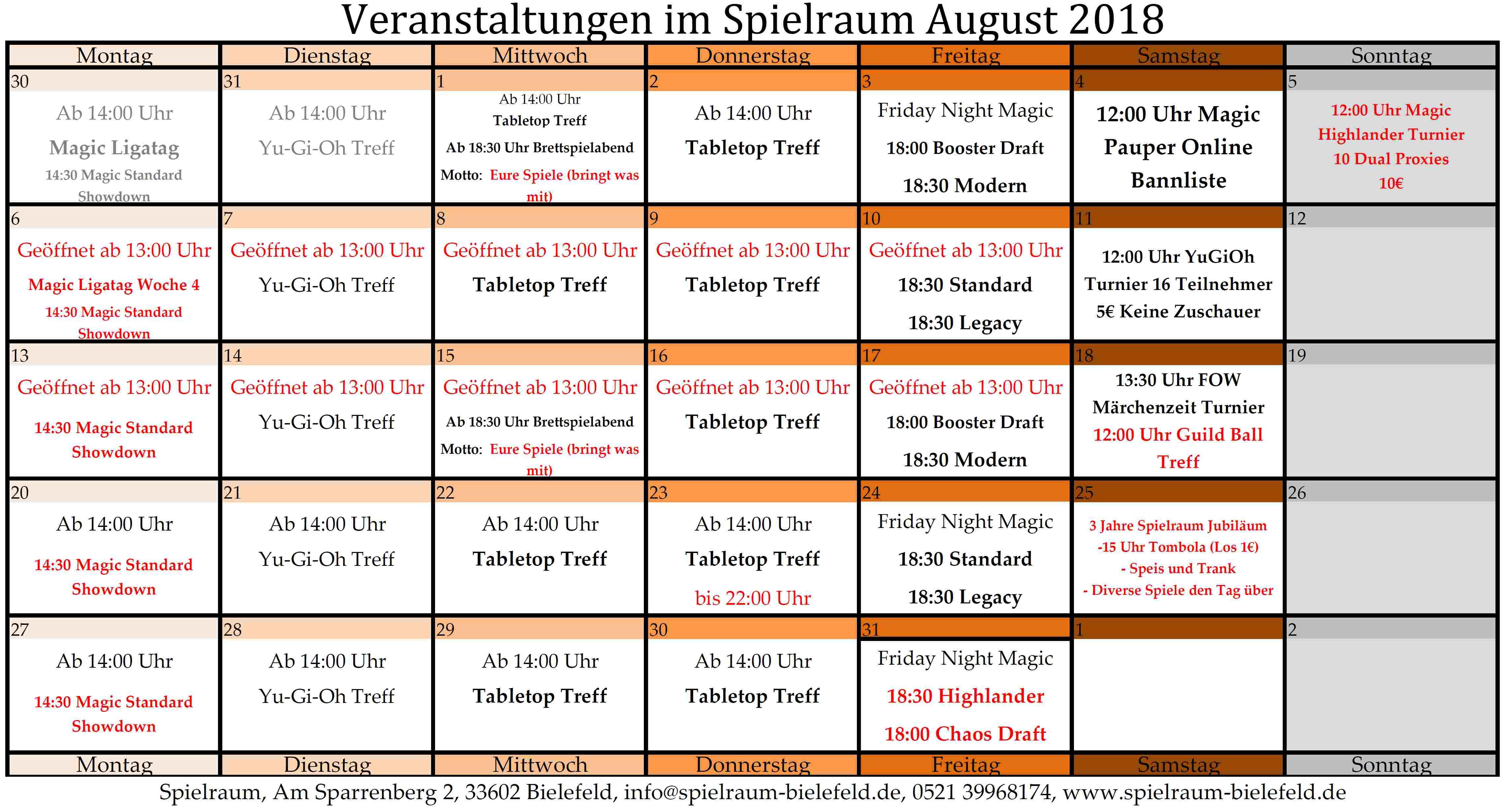 Monatsplan august 2018