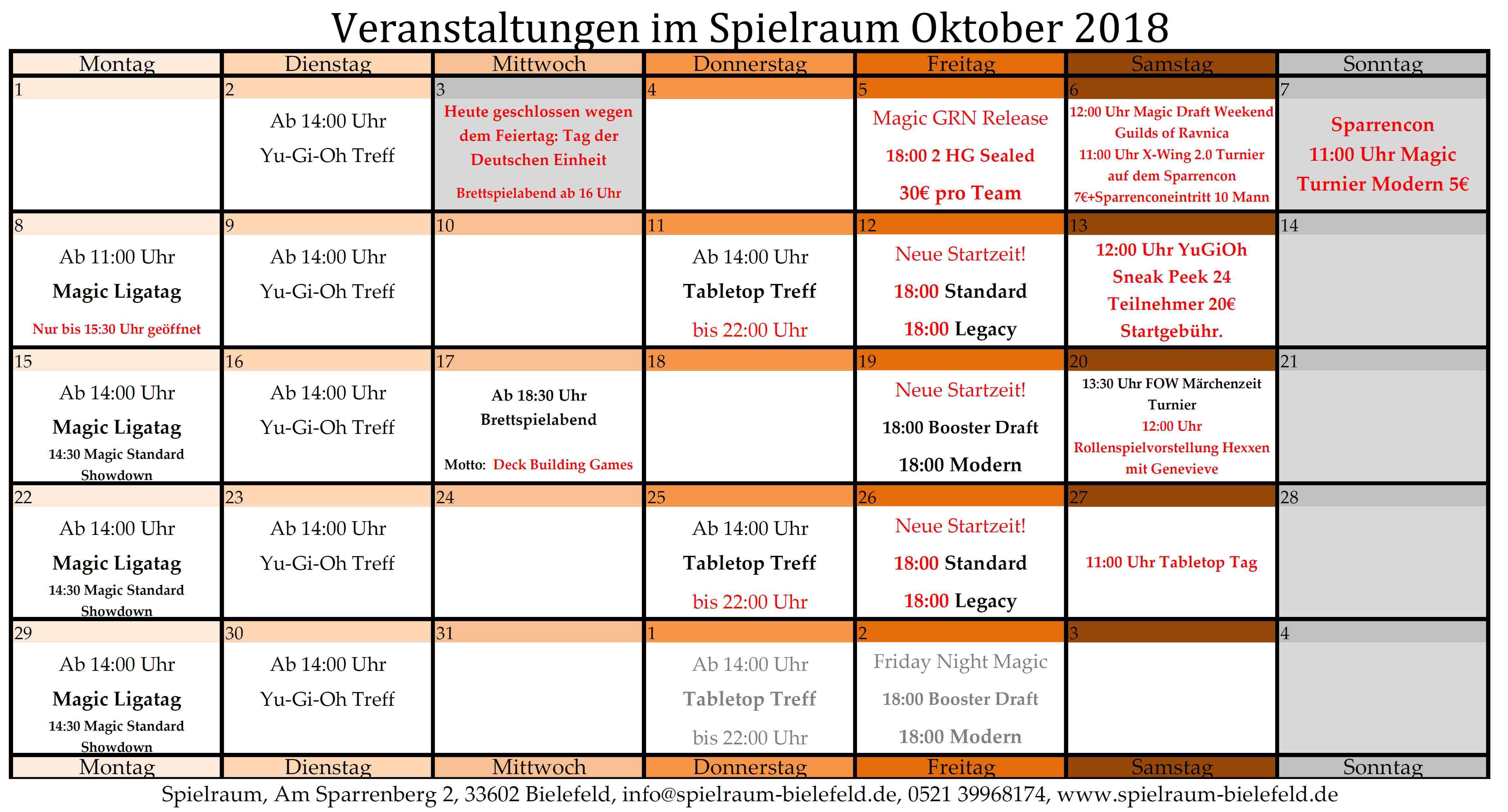 Monatsplan Oktober 2018