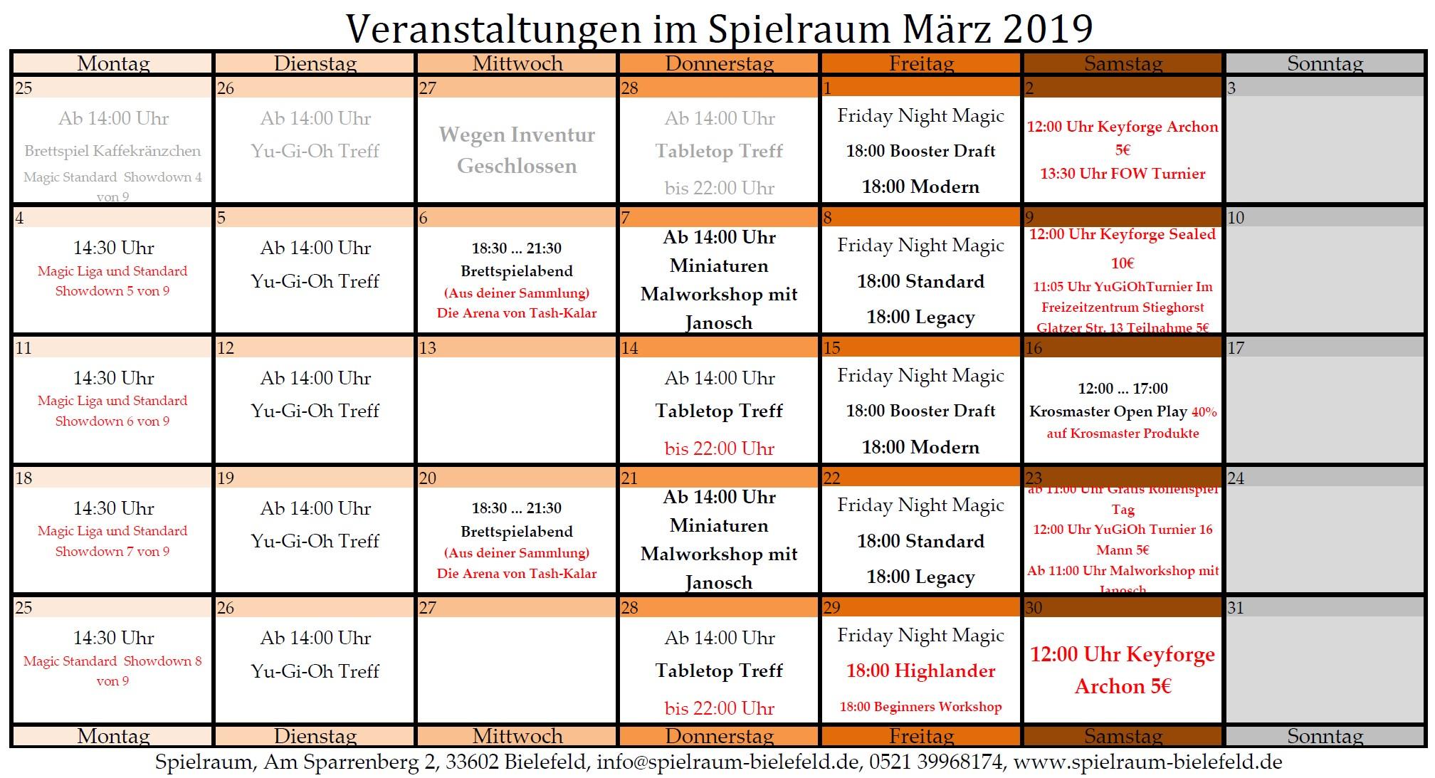 Monatsplan März 2019
