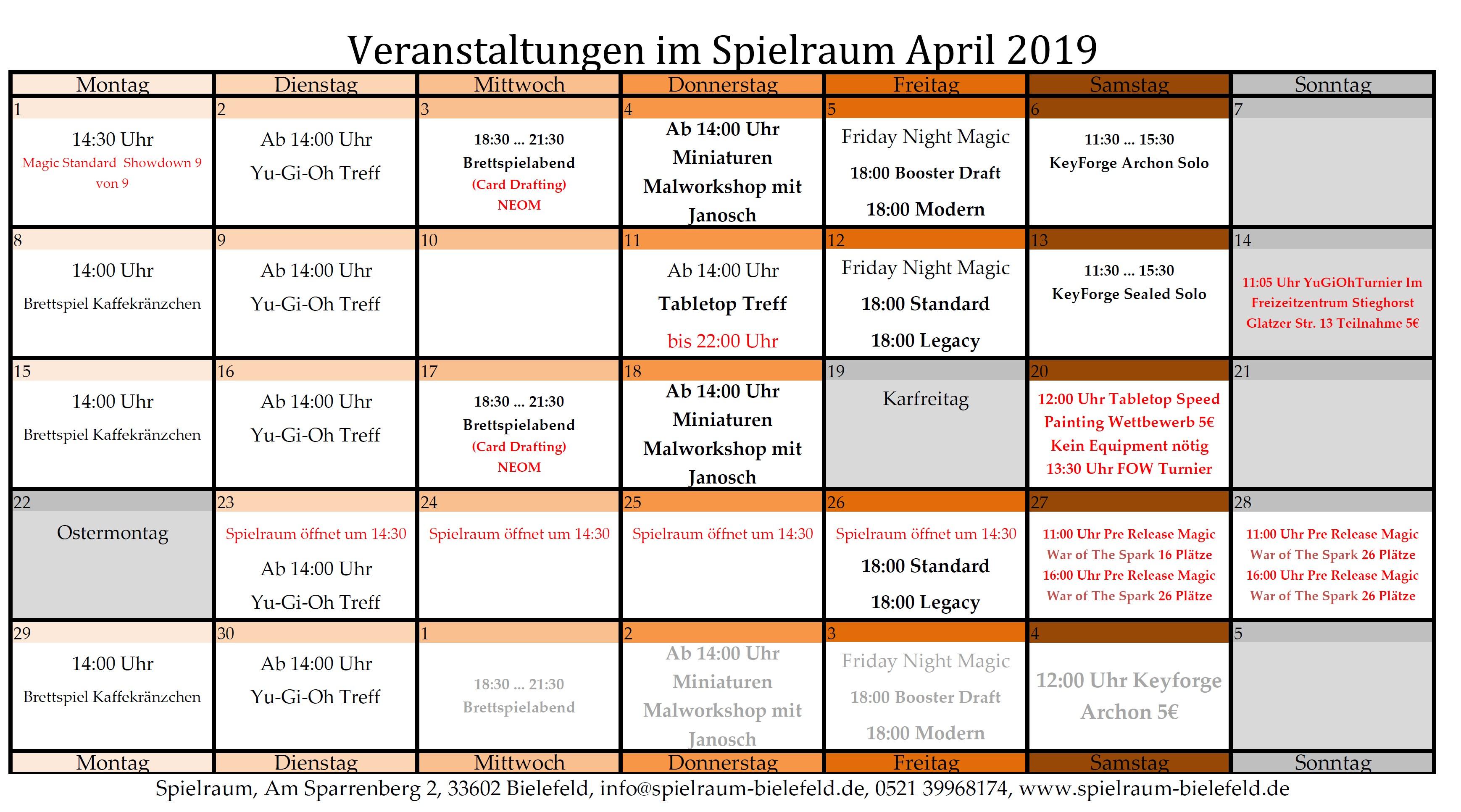 Monatsplan April 2019
