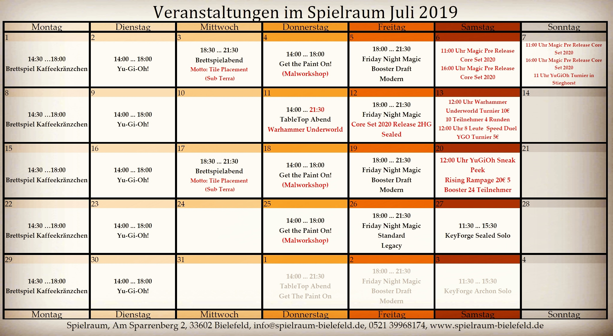 Monatsplan Insta Juli 2019
