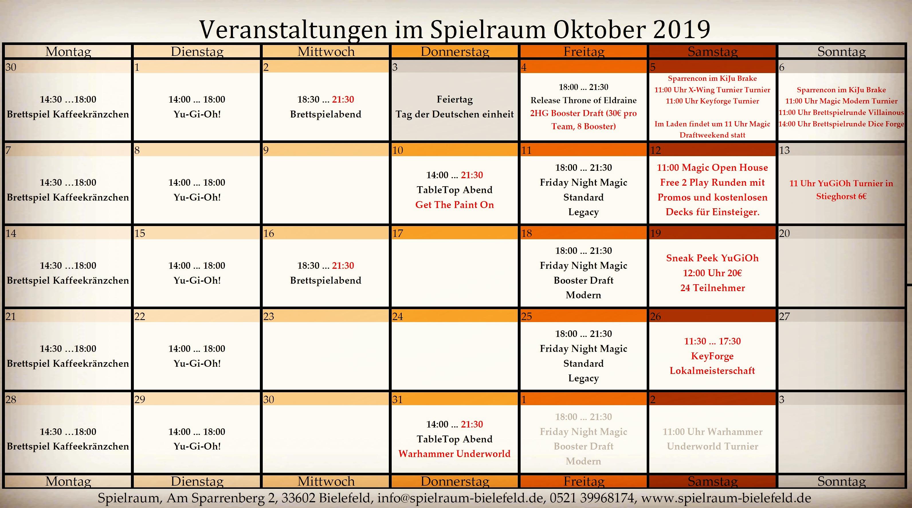 Monatsplan Oktober 2019 iNSTA